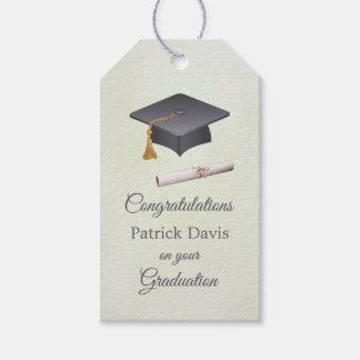 Gray black mortar, diploma Graduation Gift Tags