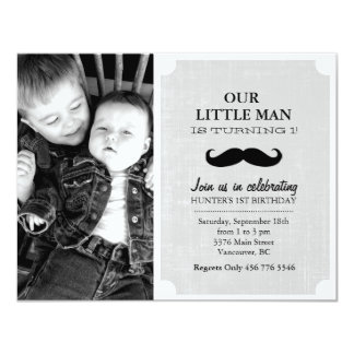 Gray & Black Mustache Photo First Birthday Invite
