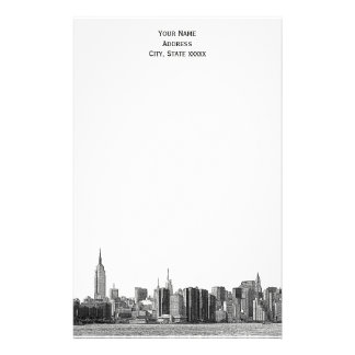 Gray Black NYC Skyline Etch 01 Stationery