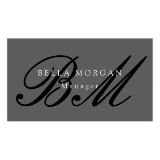 Gray Black Script Monogram Modern Stylish Business Card