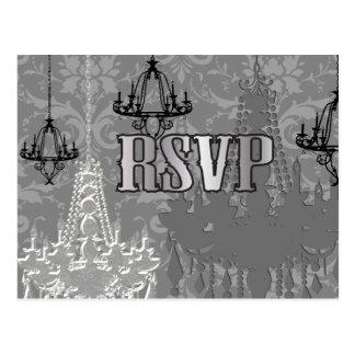 Gray, Black & Silver Chandelier RSVP Postcards
