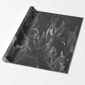 Gray Black Silver Marble Shiny Glam Wrapping Paper