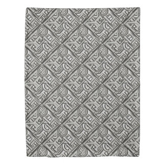 Gray Black Textural Geometric-Abstract Pattern Duvet Cover