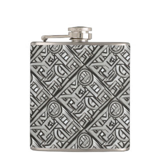 Gray Black Textural Geometric-Abstract Pattern Hip Flask