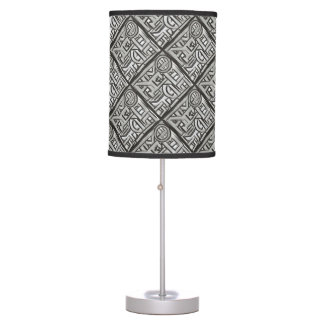 Gray Black Textural Geometric-Abstract Pattern Table Lamp