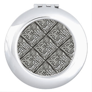 Gray Black Textural Geometric-Hand Painted Pattern Compact Mirrors
