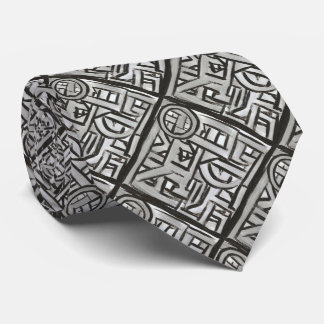 Gray Black Textural Geometric-Hand Painted Pattern Tie