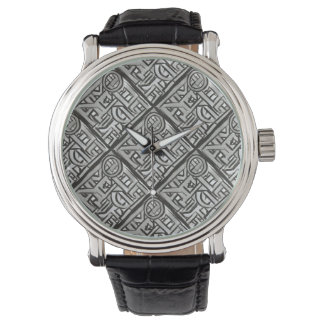 Gray Black Textural Geometric-Hand Painted Pattern Watch