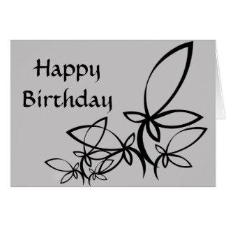 Gray & black Vectors, Happy Birthday - Customized Card