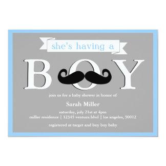 Gray Blue - Boy Moustache Baby Shower Invitation