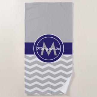 Gray Blue Chevron Beach Towel