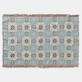 Gray Blue Cream Taupe Pattern Throw Blanket