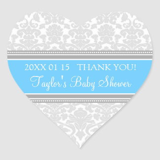 Gray Blue Damask Baby Shower Favor Stickers