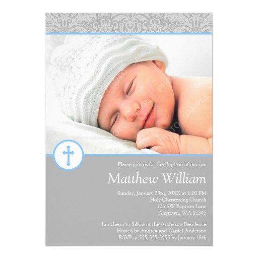 Gray Blue Damask Cross Boy Photo Baptism Invitations