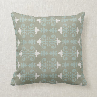 Gray & Blue Decorative Damask Throw Pillow