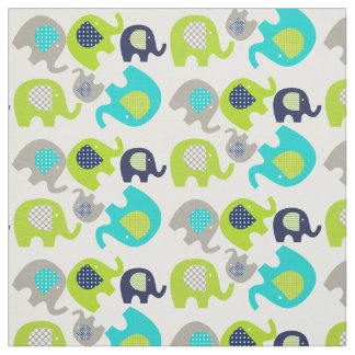 Gray Blue Green Elephants on White Fabric
