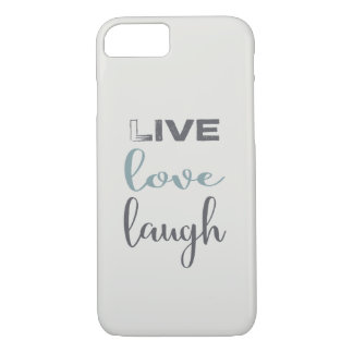 Gray Blue Live Love Laugh Typography iPhone 8/7 Case