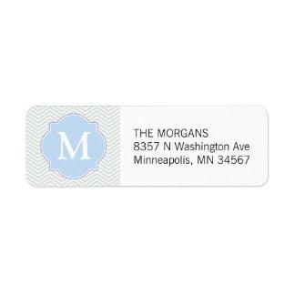 Gray & Blue Modern Chevron Custom Monogram Return Address Label