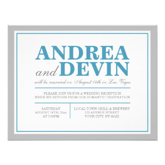 Gray Blue Wedding Reception ONLY Invitations