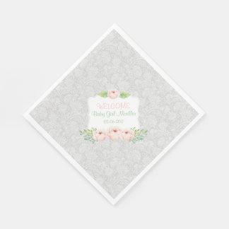 Gray Blush floral Damask Napkin / girl baby shower Disposable Napkins