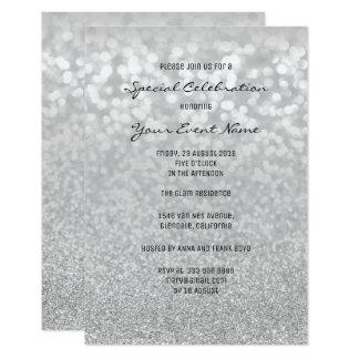 Gray Bokhe Glitter Silver Minimal Formal Event Card