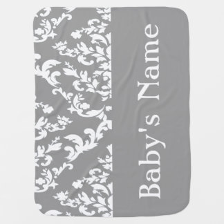 Gray Bold Damask w/ name @ Emporiomoffa Baby Blanket