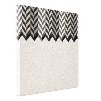 Gray Bordered Herringbone Stripes Pattern Canvas Print
