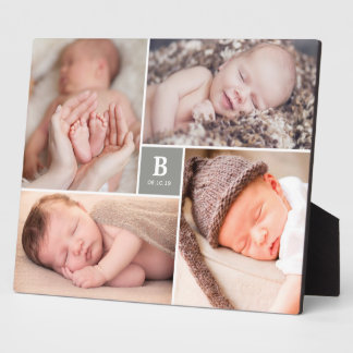 Gray Box Timeless Monogram Baby Birth Photo Easel Plaque