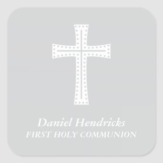 Gray Boys First Communion Square Sticker