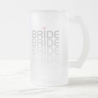 Gray Bride Fade Frosted Glass Beer Mug