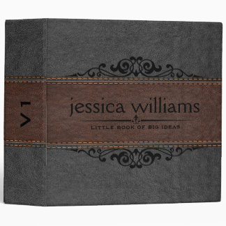 Gray & Brown Leather Black Decorative Element Vinyl Binders