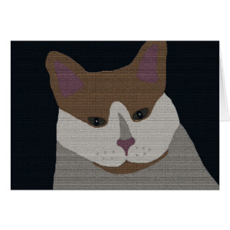 Gray, brown, white cat note card