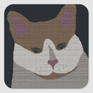 Gray, brown, white cat square sticker