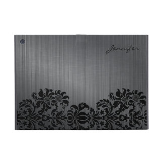 Gray Brushed Aluminum & Floral Damasks iPad Mini Cover