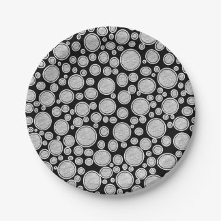 Gray Bubbles Paper Plate