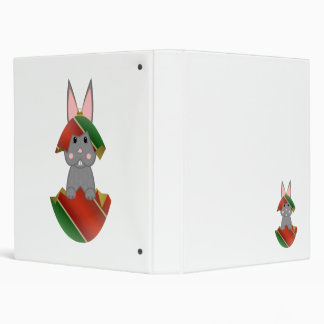 Gray Bunny In A Christmas Ornament Binder