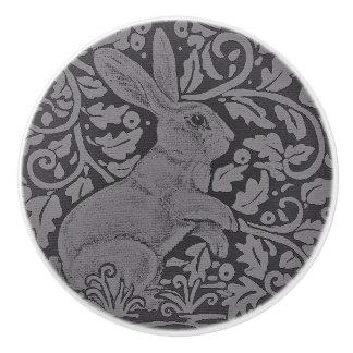 Gray Bunny Rabbit Cabinet Knob Original Art