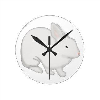 Gray Bunny Rabbit Round Clock