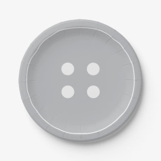 Gray Button Paper Plates