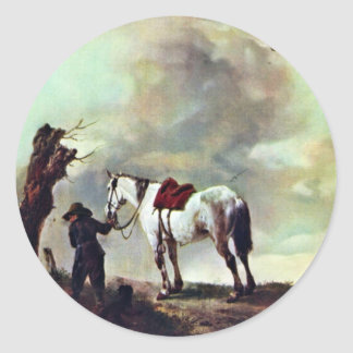 Gray.,  By Philips Wouwerman (Best Quality) Classic Round Sticker