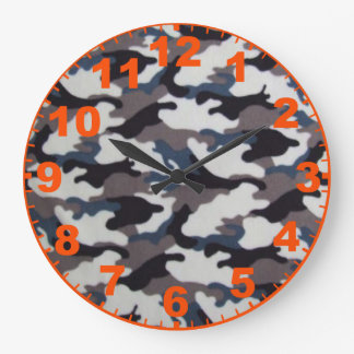 Gray Camouflage Clock With Numbers