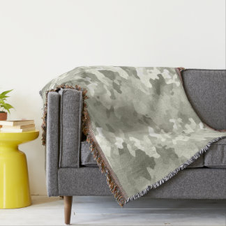 Gray Camouflage Throw Blanket