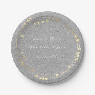 Gray Caracal Kraft Foxier Gold Wreath Heart Paper Plate