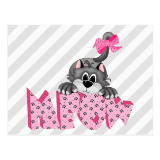 Gray Cat and Pink Meow Postcard