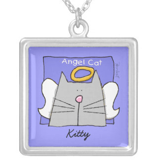 Gray Cat Angel Personalize Silver Plated Necklace