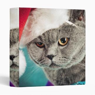 Gray cat christmas - Christmas cat -kitten cat 3 Ring Binder