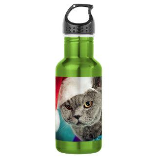 Gray cat christmas - Christmas cat -kitten cat 532 Ml Water Bottle