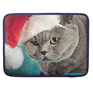 Gray cat christmas - Christmas cat -kitten cat Sleeve For MacBooks