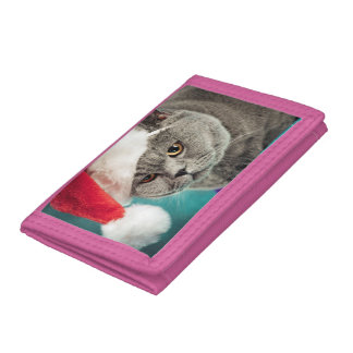 Gray cat christmas - Christmas cat -kitten cat Tri-fold Wallet