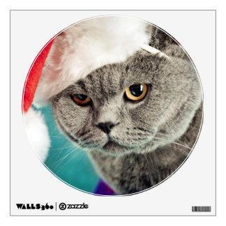 Gray cat christmas - Christmas cat -kitten cat Wall Sticker